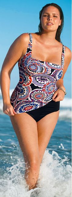 Tankinis help pear and apple shapes get the best fit - READ ARTICLE with more tips BY CLICKING HERE: http://boomerinas.com/2013/03/swimsuits-for-plus-size-apple-pear-hourglass-body-types/