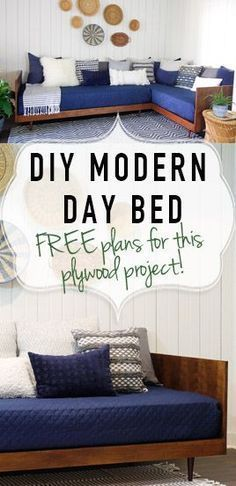 Woodworking Furniture Plywood Mid-Century Modern Daybed-DIY Video tutorial and FREE plans- DeeplySouthernHome.Woodworking Furniture Plywood Mid-Century Modern Daybed-DIY Video tutorial and FREE plans- DeeplySouthernHome Plywood Projects, Furniture Projects, Bedroom Furniture, Modern Furniture, Furniture Design, Sofa Design, Plywood Furniture, Woodworking Projects, Woodworking Patterns