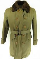 Vtg 40s Olympia Brown Double Breasted Sheepskin Shearling Belted Overcoat Coa...