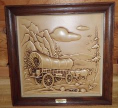 VINTAGE COVERED WAGON Oxen  3D WALL ART MILLER STUDIOS Shabby Rustic Country
