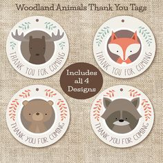 Woodland Animal Baby Shower Favor, Thank You Tags Youll receive a PDF and jpg file of 2.5 circles formatted as an 8.5x11 page to use for your woodland themed baby shower ======================== HOW TO CHECK OUT: ======================== 1. Place your or...