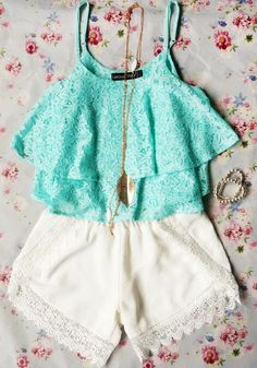 Double Layers Crop Top - Mint