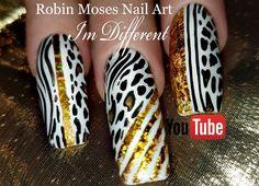 Long Black and White Animal Print with Gold Foil! Brushes info at: robinmosesbrushes@yahoo.com #nailart #nailsart #diynailart #design #tutorial #nails #naildesign #howto #nailarts #DIY #DIYnails #easynails #diva #divanails #2chainz #trapsuit #imdifferent Nail Art Blog, Nail Art Videos, Nail Art Diy, Easy Nail Art, Nail Art Instagram, Free Hand Designs, Black And White Nail Art, Fierce Animals, Nails Now