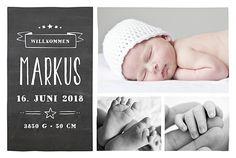 Geburtskarte Kreidetafel stern schwarz