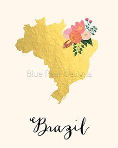 Brazil Map Brazil Art Brazil Poster Brazil by WhitespaceAndDaisy