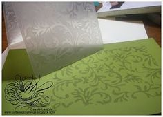embossing folders as background stamp. Ink the raised edge, position paper on open folder and run through Cuttlebug with 'A' plate, B plate, open folder, cardstock to be printed, B plate and 3-4 cardstock shims.