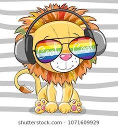 Cute Lion with sun glasses. Cool Cartoon Cute Lion with sun glasses vector illustration Kids Cartoon Characters, Cartoon Lion, Cute Cartoon Animals, Baby Cartoon, Cartoon Drawings, Animal Drawings, Lion Drawing, Cute Animal Illustration, Cute Lion