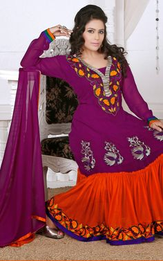 PURPLE & DEEP ORANGE GEORGETTE ANARKALI SALWAR KAMEEZ - DIF 29687