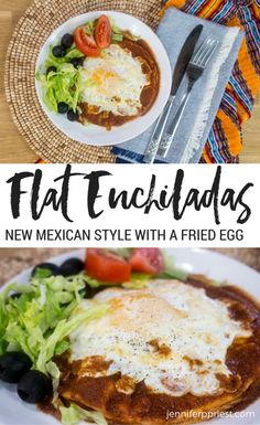 OMG this look so delicious! Best flat enchiladas recipe ever! New Mexico style flat enchiladas recipe, topped with an egg. Recipes With Enchilada Sauce, Homemade Enchilada Sauce, Homemade Enchiladas, Red Enchiladas, Mexican Food Recipes, Real Food Recipes, Dinner Recipes, Cooking Recipes, Mexican Dishes