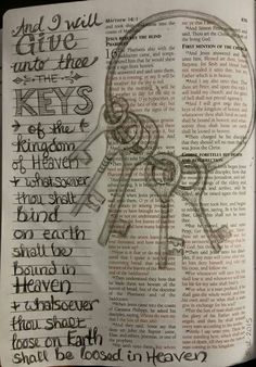 Matthew 16 And I will give unto thee the keys of the kingdom of Heaven and whatsoever thous shalt bind on earth shall be bound in Heaven and whatsoever thou shalt loose on Earth shall be loosed in Heaven