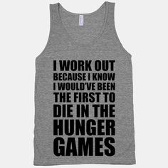 """Fitness-themed tanks and sweatshirts from HUMAN ($20-$35). It's hard for me to hate on that last push in Barry's Bootcamp when I can look over in the mirror to read a tank top that says """"Squat Like Ryan Gosling Is Watching"""" or """"Girls Just Wanna Have Guns."""""""