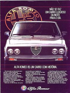 Alfa Romeo 85 aka Alfa Romeo 2300 or Rio - adv Alfa Romeo Logo, Alfa Romeo Cars, Vintage Advertisements, Vintage Ads, Carros Alfa Romeo, Old Scool, Alfa Romeo Spider, Car Brochure, Sports Sedan