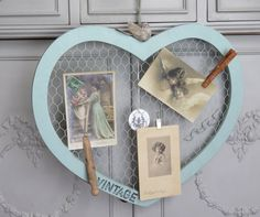 Robin's Egg Blue Wooden Heart with Bird Wall or Door Decor, Corrugated Tin trim, Chicken Wire, Photo Memo board, Farmhouse, Shabby Vintage by TheJoyfulHome on Etsy
