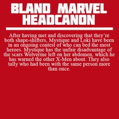 Bland Marvel Headcanons- this kinda makes me feel uncomfortable but at the same time...