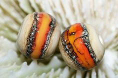 Handmade chunky donut organic glass lampwork bead pair by joycelo, $6.00