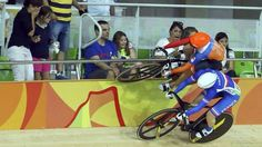 Laurine van Riessen is forced right onto the top of the rails by France's Virignie Cueff, leaving spectators cowering Rio Olympics 2016, Summer Olympics, Velo Shop, Mo Farah, Usain Bolt, Michael Phelps, Rio 2016, Sports Pictures, Olympic Games