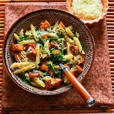 Recipe for Easy Penne Pasta with Balsamic Sweet Potatoes, Baby Arugula (or Spinach), and Parmesan