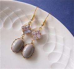 Dangle Earrings – ˙· NovemberLicht ·˙ Ohrhänger,dunkelgrau,flieder – a unique product by Juli_81 on DaWanda