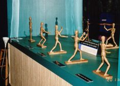 Tai Chi Stances  This is a companion piece to the Tai Chi Movement, both of which promote gentle, low impact exercise. The Tai Chi figures each demonstrate one of five traditional stances. This was a companion piece to the Secrets of Aging traveling exhibit.