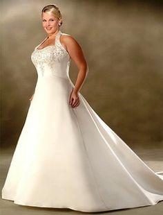 Plus size halter neck wedding dresses