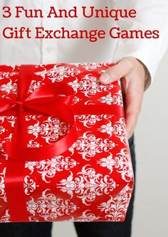 Three of the most creative gift exchange games, perfect to mix things up from your typical white elephant one. Use them for a Christmas party, a family reunion, or choose themes and use them for any party you host! Definitely some of the best gift exchange ideas I've ever seen. I especially love the first game!