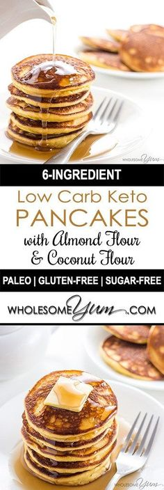 Keto Low Carb Pancakes with Almond Flour & Coconut Flour (Paleo, Gluten-free) - These 6-ingredient keto low carb pancakes with almond flour and coconut flour are so easy, fluffy, and delicious.