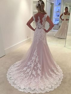 Lace Appliqued Bridal Wedding Gowns,Sheath Wedding Dresses SWD0061 #weddingdresses #laceweddingdresses