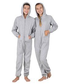 Laid-back Gray Footless Hooded Pajamas