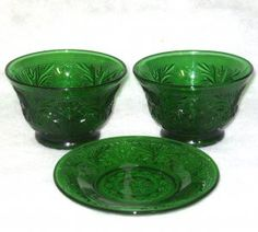 Vintage Forest Green Sandwich Glass 2 Custard Cups 1 Liner