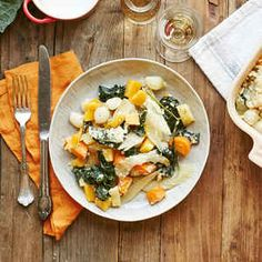 Root Vegetable Casserole with Pearl Onions and Kale
