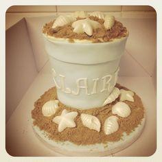 Bucket style cake... Seaside themed