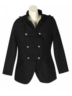 Black Paradise Coat $79  http://www.alight.com/last-kiss-black-paradise-coat.html  Super soft zipper front coat has metallic buttons at the front and shoulders, 2 flap pockets at the hips.