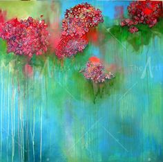 jane haardy | spring showers, mixed media on canvas