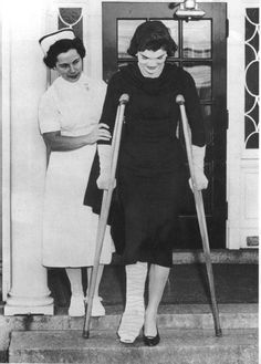 1955 ~ Jackie broke her ankle playing touch football with the Kennedys. She later told them she was done with touch football because she was pregnant with Arabella.    ~  Would anyone else, but Jackie Kennedy wear high heels while on crutches? - 1955.