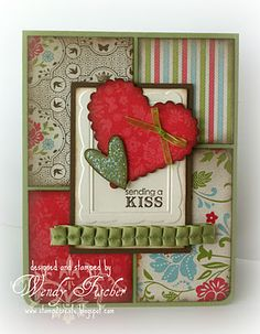Valentine card  Stampin'Up! items used: Pear Pizazz, Soft Suede and Very Vanilla card stock, Everyday Enchantment DSP (SAB option),  3/8 Pleated Satin Pear Pizazz ribbon, Designer Frames embossing folders (SAB option), Heart to Heart punch and glitter glue.