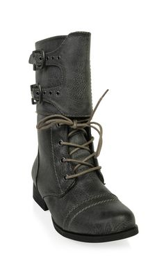 Deb Shops flat lace up #combat #boot with buckled ankle cuff