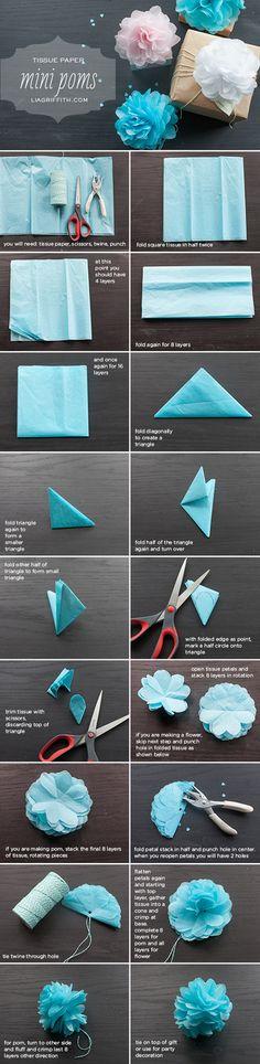 【材料】 ・ティッシュペーパー ・より糸 ・はさみ ・穴開けパンチ  【手順】 1. ティッシュを2回半分に折って正方形にします。 2. そのとき4枚重なった状態になっているのを確認してください。 3. もう一度半分に折って8枚になるようにします。 4. さらに半分に折って16枚になるようにします。 5. 三角形になるように斜めに折ります。 6. もう一度斜め半分に折って小さな三角形にします。 7. さらに斜め半分に折り、半分折り返します。 8. 小さな三角形を作るため、残りの半分を折ります。 9. 折り畳まれた端をポイントに、三角形の上部に半円を描きます。 10. 描いた線に沿ってはさみで切り取り、上部の方を取り除きます。 11. ティッシュの花びらを開いて、お花を作る場合は8枚を回転させながら重ねます。 12. ポンポンを作る場合は残りの8枚も回転させながら重ねます。 13. 重ねた花びらを半分に折り、中心にパンチで穴をあけます。(花びらを開いたときに中心に2つ穴が開くように。) 14…