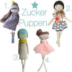 1 Leila Doll--las sandalias de ana on etsy, handmade in Spain, 2 Natalie--Mini Bohème, 3 Marina Rachner Puppe, made in Hamburg, 4 Ballerina Doll--las sandalias de ana on etsy, handmade in Spain