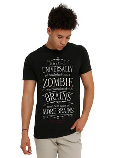 PRIDE AND PREJUDICE AND ZOMBIES BRAINS QUOTE Tee - Text Tee