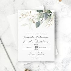 Eucalyptus Wedding Invitation Set Template INVITATION ONLY | Etsy