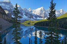 Perfect dead calm, fresh overnight snow, and that legendary postcard scene!  Moraine Lake, Canada.