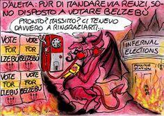 Il nuovo compagno di partito... #IoSeguoItalianComics #Satira #Politica #Comics #Humor #Italy #D'alema #Renzi #Raggi #Belzebù