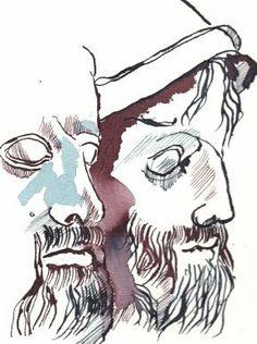 König Priamos und sein Sohn Hektor (c) gesanntes Detail aus Zeichnung von Susanne Haun