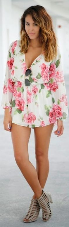 Sugar Love Boutique White Multi Floral Chiffon Playsuit by The Chiffon Diary