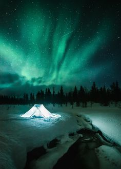 Campspot by the river - @konstalinkola on Instagram  One of the most epic nights last winter.