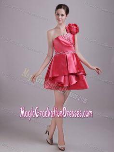 9c5a3ae8a8c One Shoulder Mini-length Coral Red 5th Grade Graduation Dress Short Graduation  Dresses