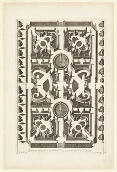 Print, Espalier Garden Fashioned as a Labyrinth with Two Fountains, ca. 1700