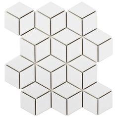 "EliteTile Retro Rhombus 1.88"" x 3.18"" Porcelain Mosaic Tile in White | Wayfair"