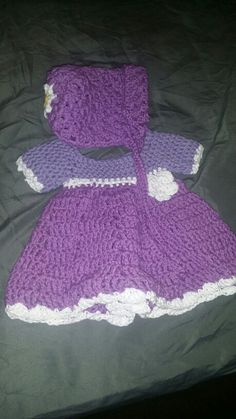 New born crochet dress & bonnet