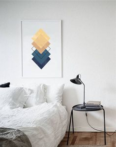Blue&Yellow Geometric Art Print, Geometry Art, Minimalism , Abstract Poster, Set of Three Prints, Set 3 Prints, Bedroom Wall Art, Above Bed